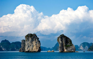 Some of the hundreds of karst limestone islands that make the bay, so special