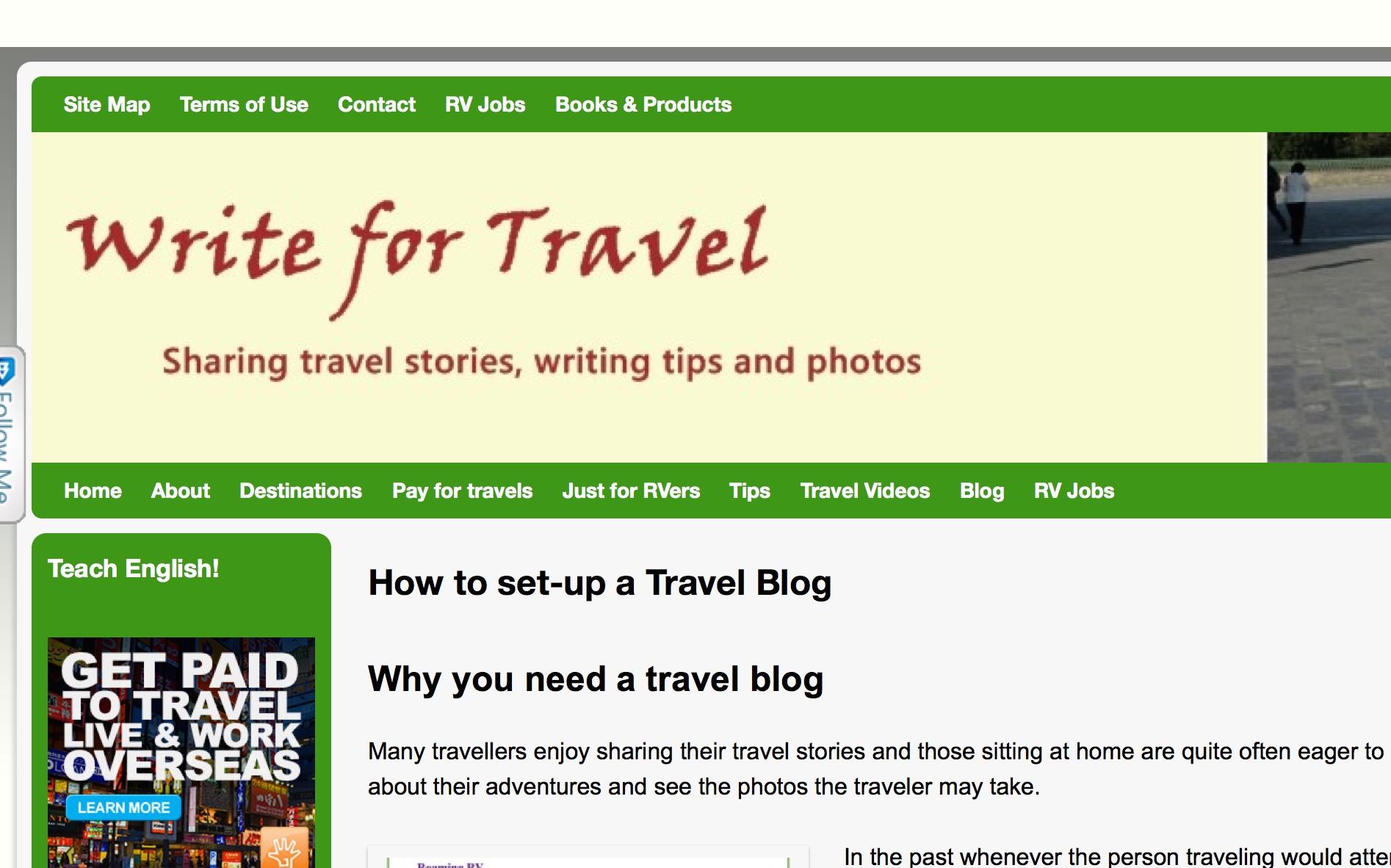 Write for Travel Blog